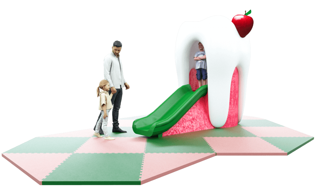 Tooth slide dentist themed play photo corner